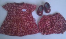 Adorable My 1st 'Baby Born Party Dress' 2-Piece Baby Doll Outfit + Red Party Shoes